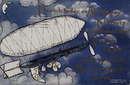 """I launch today, an Airship gay..."" Airship in flight"