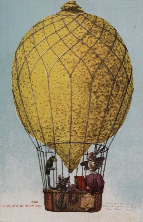 """""""Old Maid's Honeymoon."""" Old woman, cat and bird up in a """"lemon"""" balloon"""