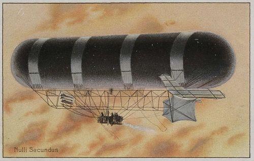 """""""Nulli Secundus."""" Airship in flight"""