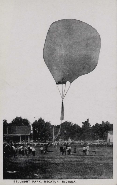 """""""Bellmont Park, Decatur, Indiana."""" Ascent of smoke balloon"""