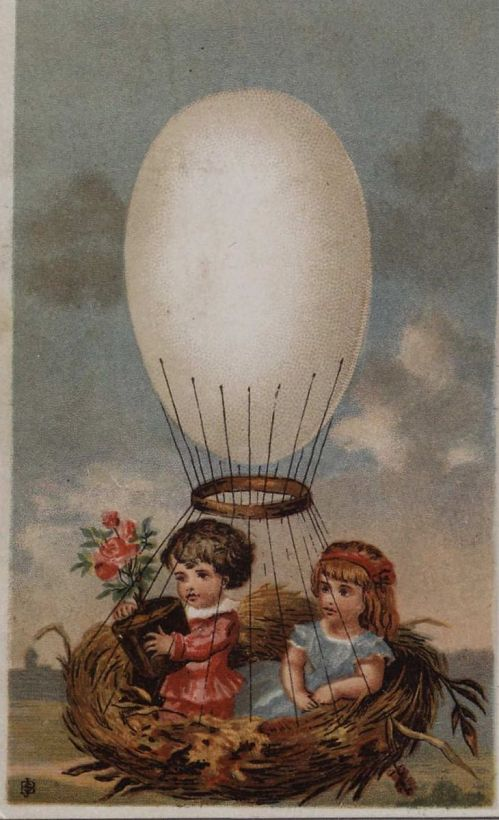 Untitled. Two young girls up in an egg-shaped balloon. Bird's nest serves as a basket