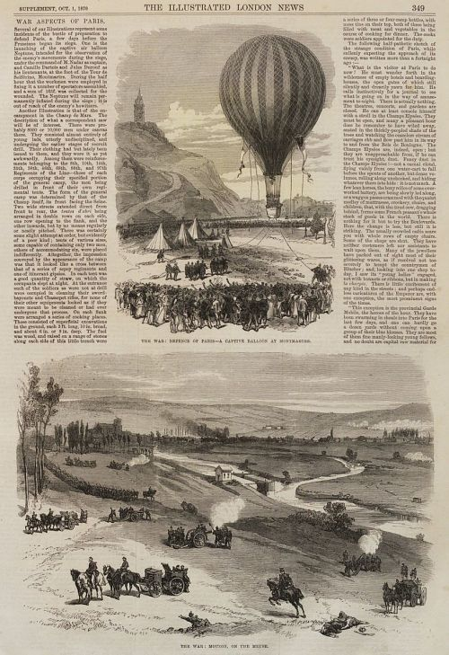 """The War: Defence of Paris--A Captive Balloon at Monmartre."" With article"
