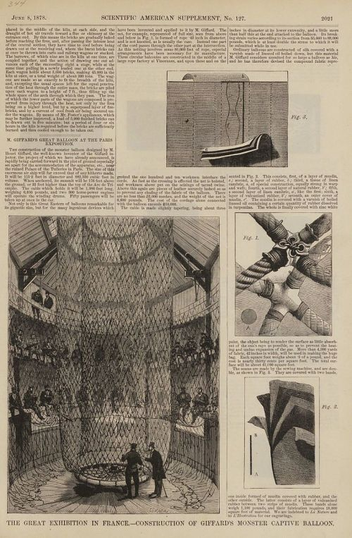 """The Great Exhibition in France--Construction of Giffard's Monster Captive Balloon."" With article"