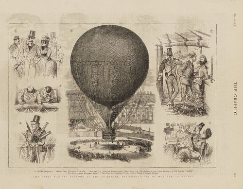 """The Great Captive Balloon at the Tuileries, Paris -- Sketches by Our Special Artist"""
