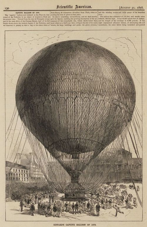 """Giffard's Captive Balloon of 1878."" With text"