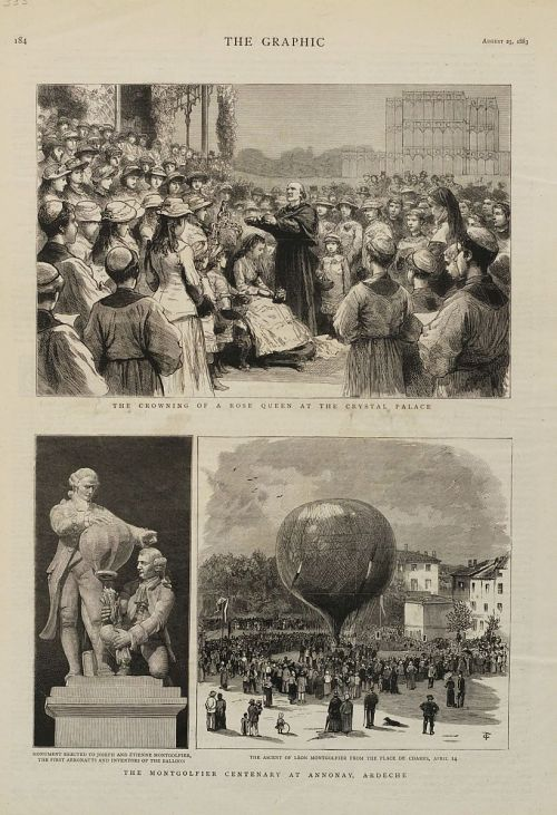 """The Montgolfier Centenary at Annonay, Ardeche."" Monument to Montgolfier Brothers and their ascent"