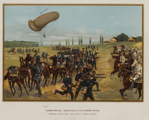 """""""Detachment of Balloon Troops. Cavalry Attack on a Balloon Detachment."""" German army"""