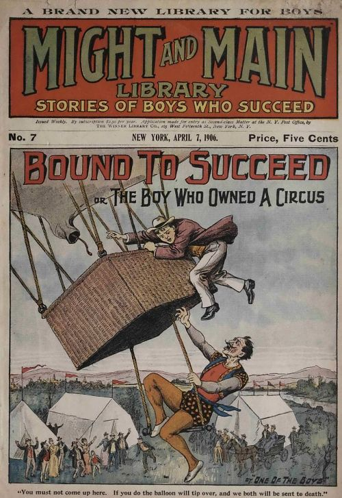 """""""You must not come up here. If you do the balloon will tip over, and we will both be sent to death."""" Magazine cover showing a boy hero struggling with villain aeronaut"""