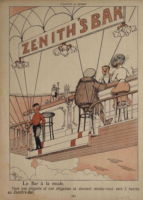 """""""Le Bar à la mode"""" (""""Zenith's Bar"""") Tous nos élégants et nos élégantes se donnent rendez-vous vers 5 heures au Zenith's-Bar."""" Elaborate bar scene on open airship"""