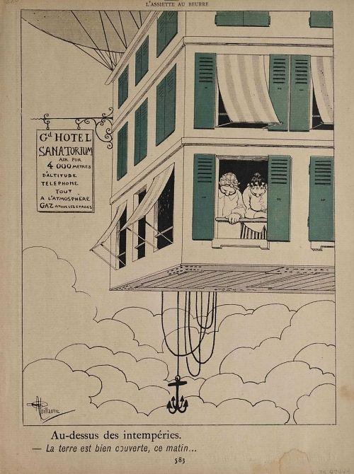 """""""Au-dessus des intempéries. -- La terre est bien couverte, ce matin..."""" Balloon basket seen as large shuttered hotel"""