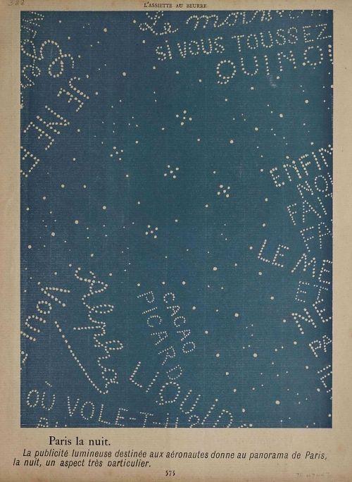"""""""Paris la nuit. La publicité lumineuse destinée aux aéronautes donne au panorama de Paris, la nuit, un aspect très particulier."""" Night sky with lighted advertisements"""