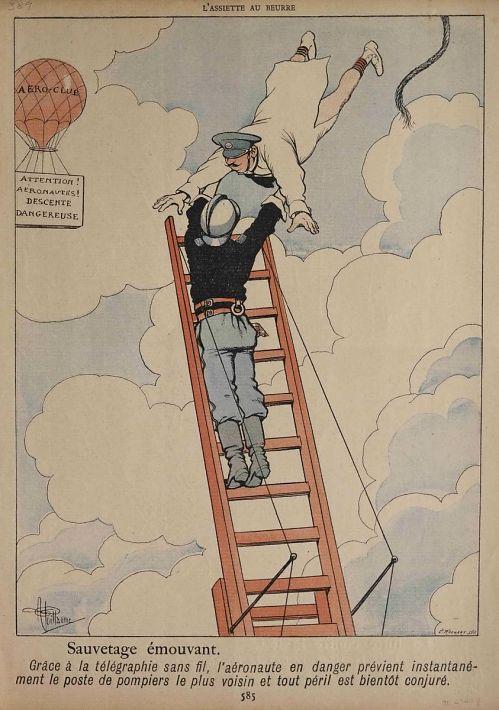 """""""Sauvetage émouvant. Grâce a la télégraphie sans fil, l'aéronaute en danger prévient instantanément le poste de pompiers le plus voisin et tout péril est bientôt conjuré."""" Balloonist being rescued from mid-air by man on ladder"""