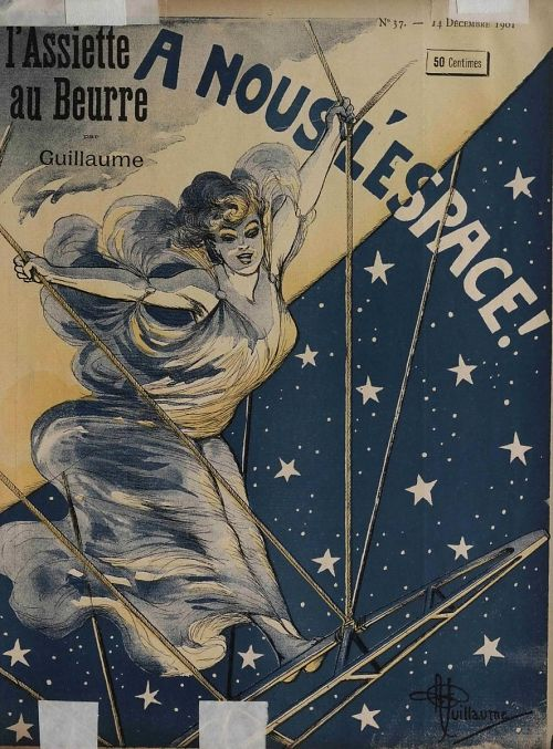 """""""A Nous l'Espace!"""" To Space With Us! A beautiful woman poised on the prow of an airship gondola, in flight through a starry sky"""