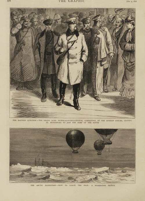 """The Arctic Expedition -- How to Reach the Pole: A Suggestive Sketch."" Three balloons over the Arctic sea"