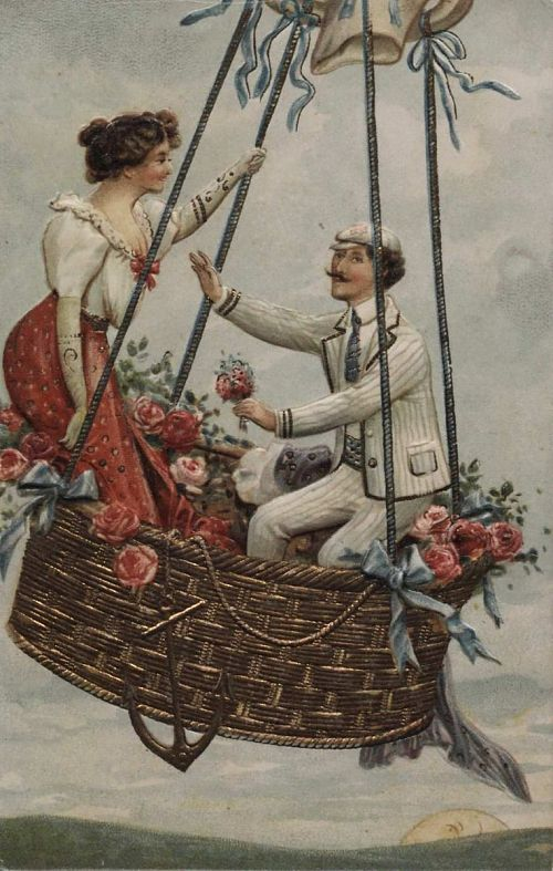 Untitled. Handsome young couple in a balloon basket