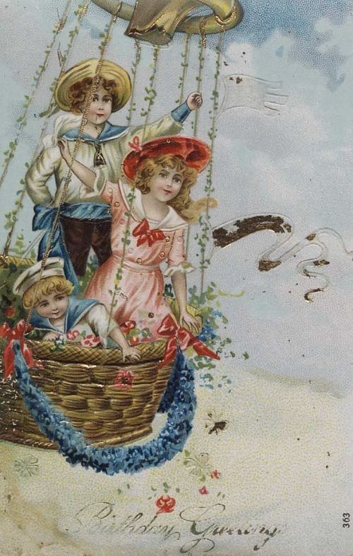 """""""Birthday Greetings."""" Three children up in a balloon"""