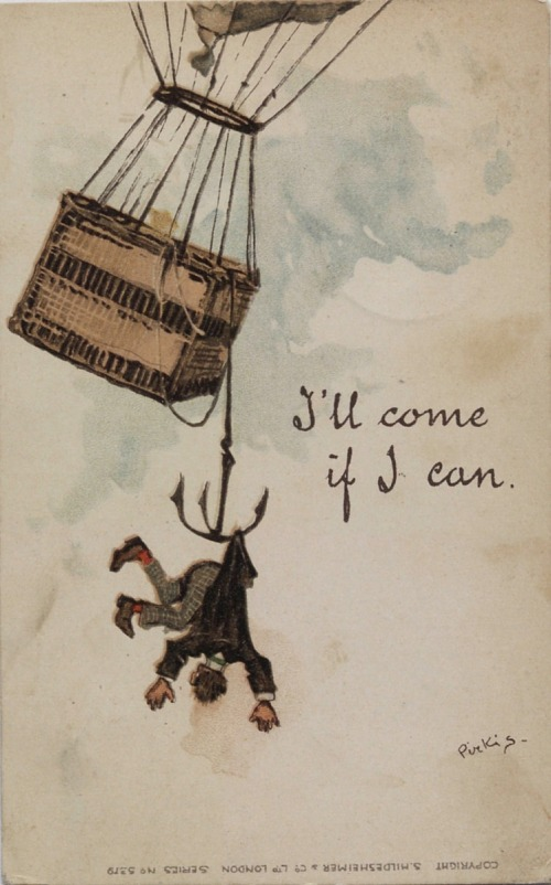 """""""I'll Come If I Can."""" Man suspended from drag anchor from a balloon"""