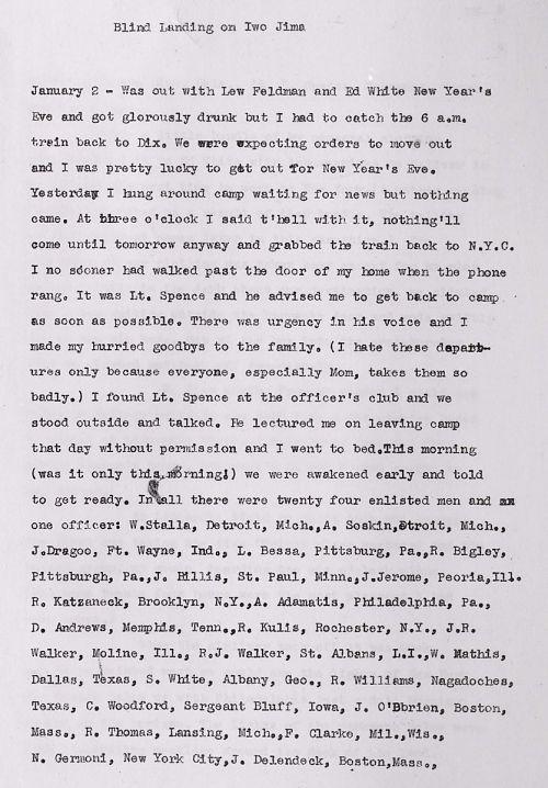 Harold Raskin World War II Diary and Images Ground Controlled Approach (GCA) Landings on Iwo Jima