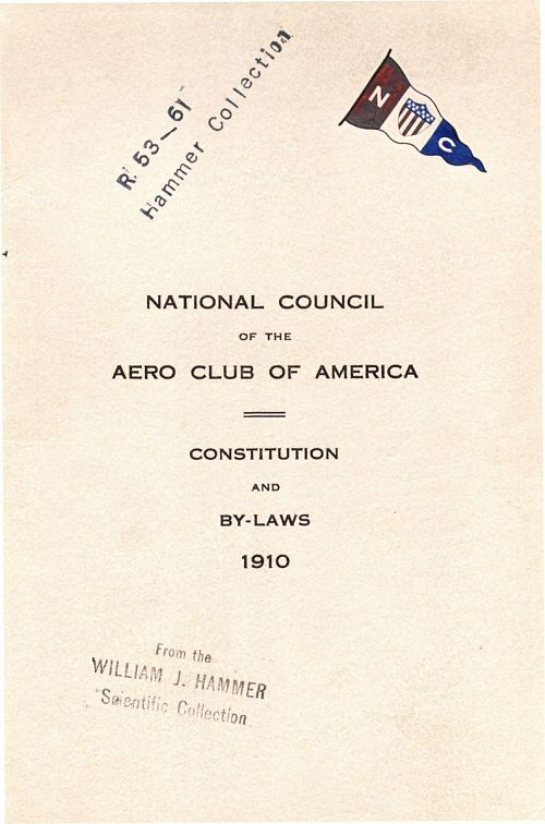 National Council of the Aero Club of America, Constitution and By-Laws, Aero Club of America