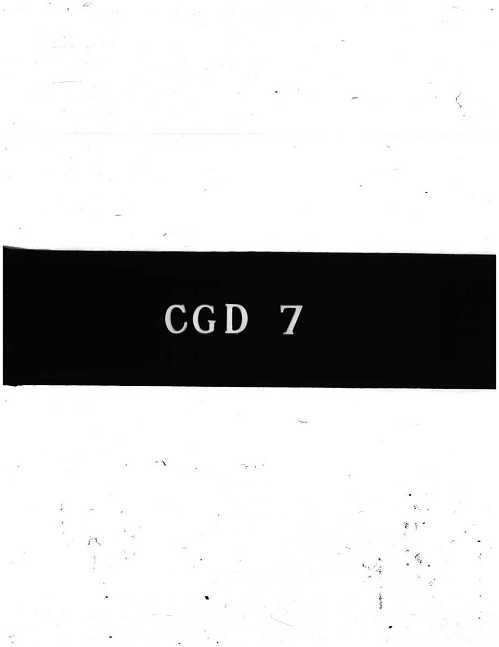 CGD-7 : Report on Cavitation Installations for Small Cavitation Numbers