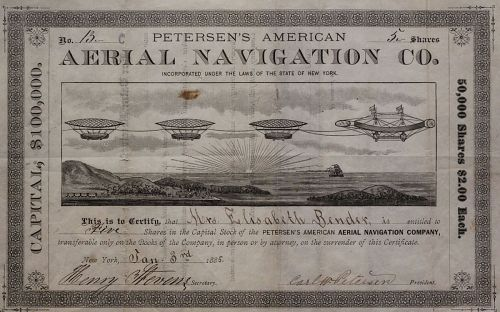 Petersen's American Aerial Navigation Company Circular, Stationery, and Stock Certificate