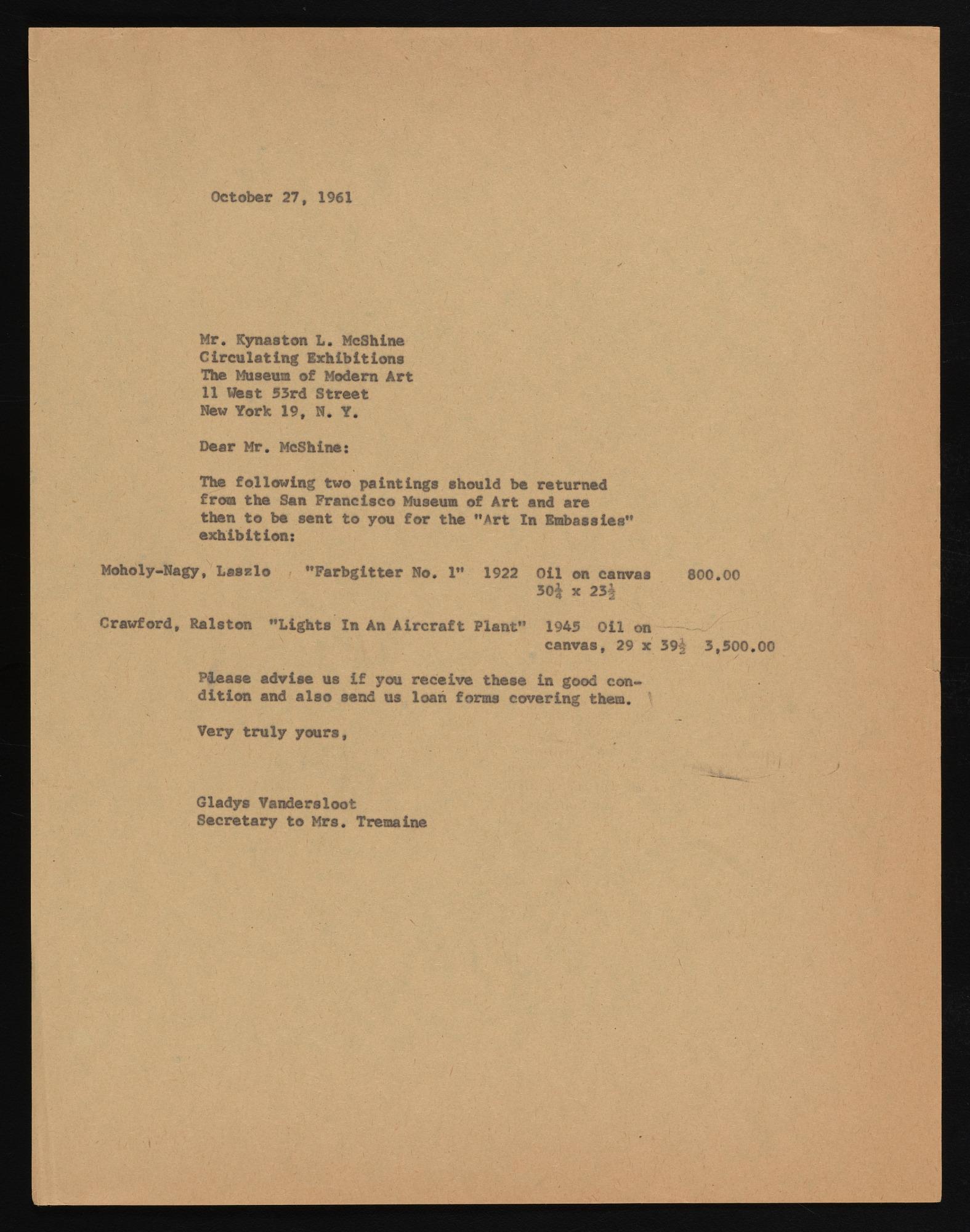 Exhibitions 1962, Art in Embassies Program