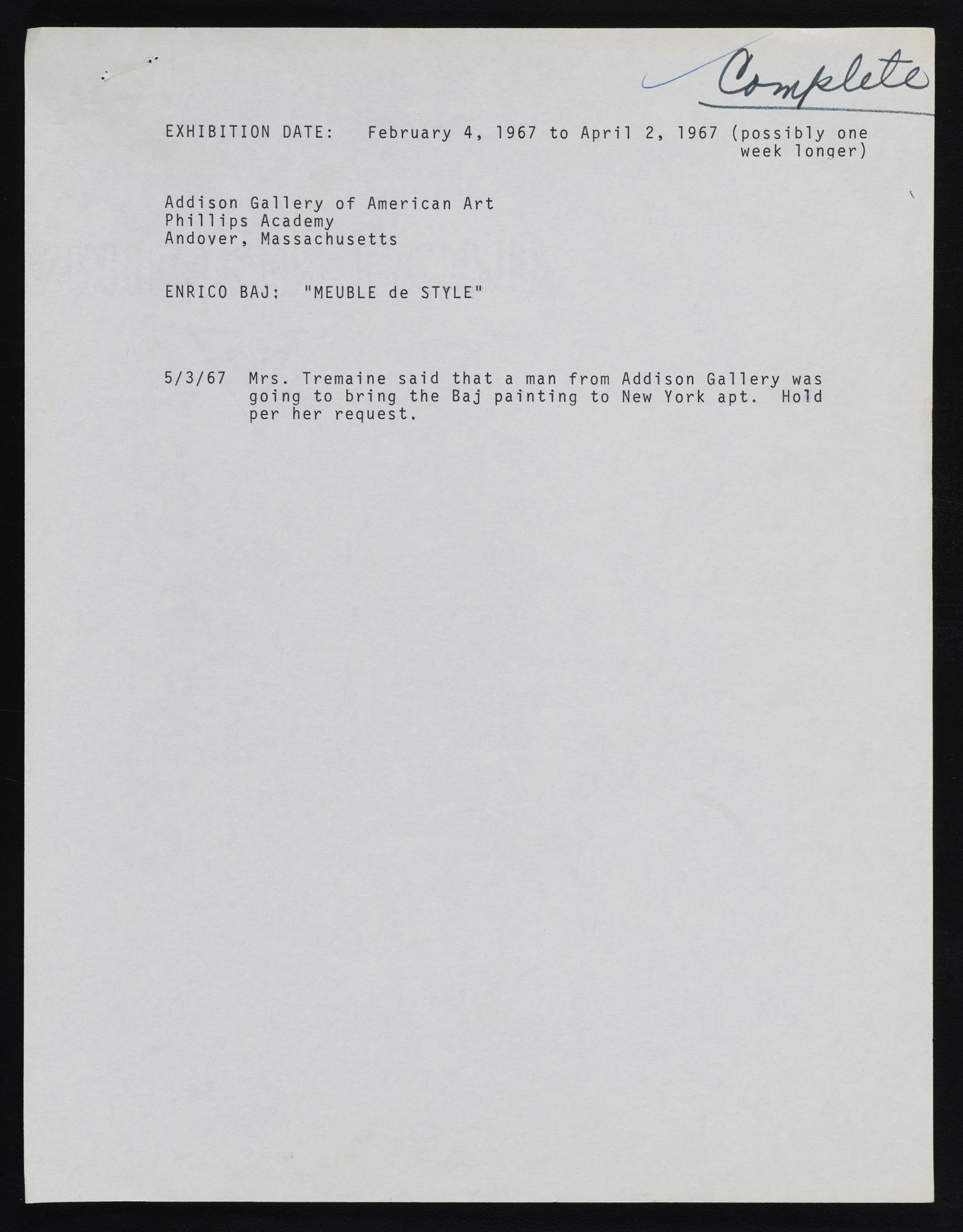 Exhibitions 1967