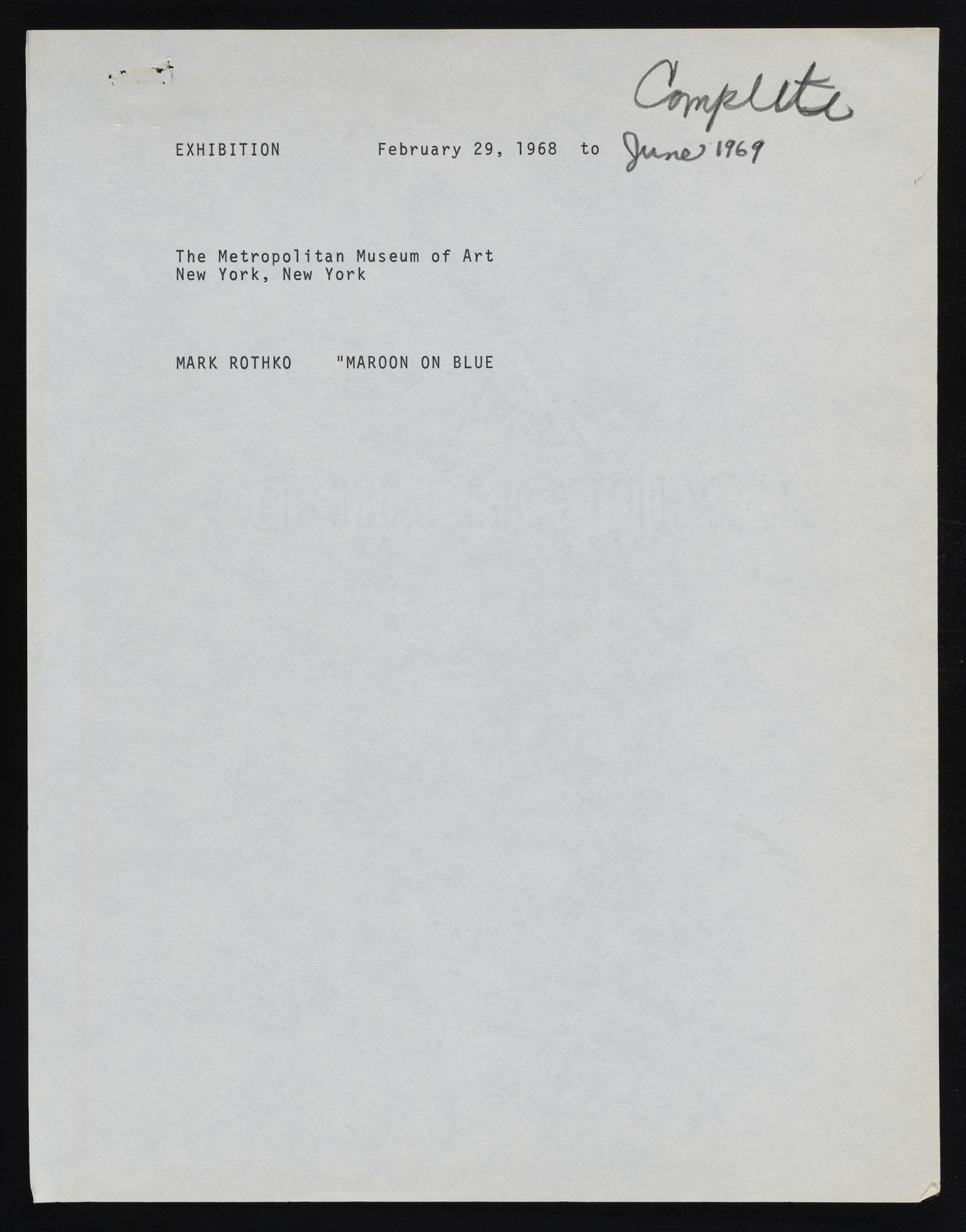 Exhibitions 1969