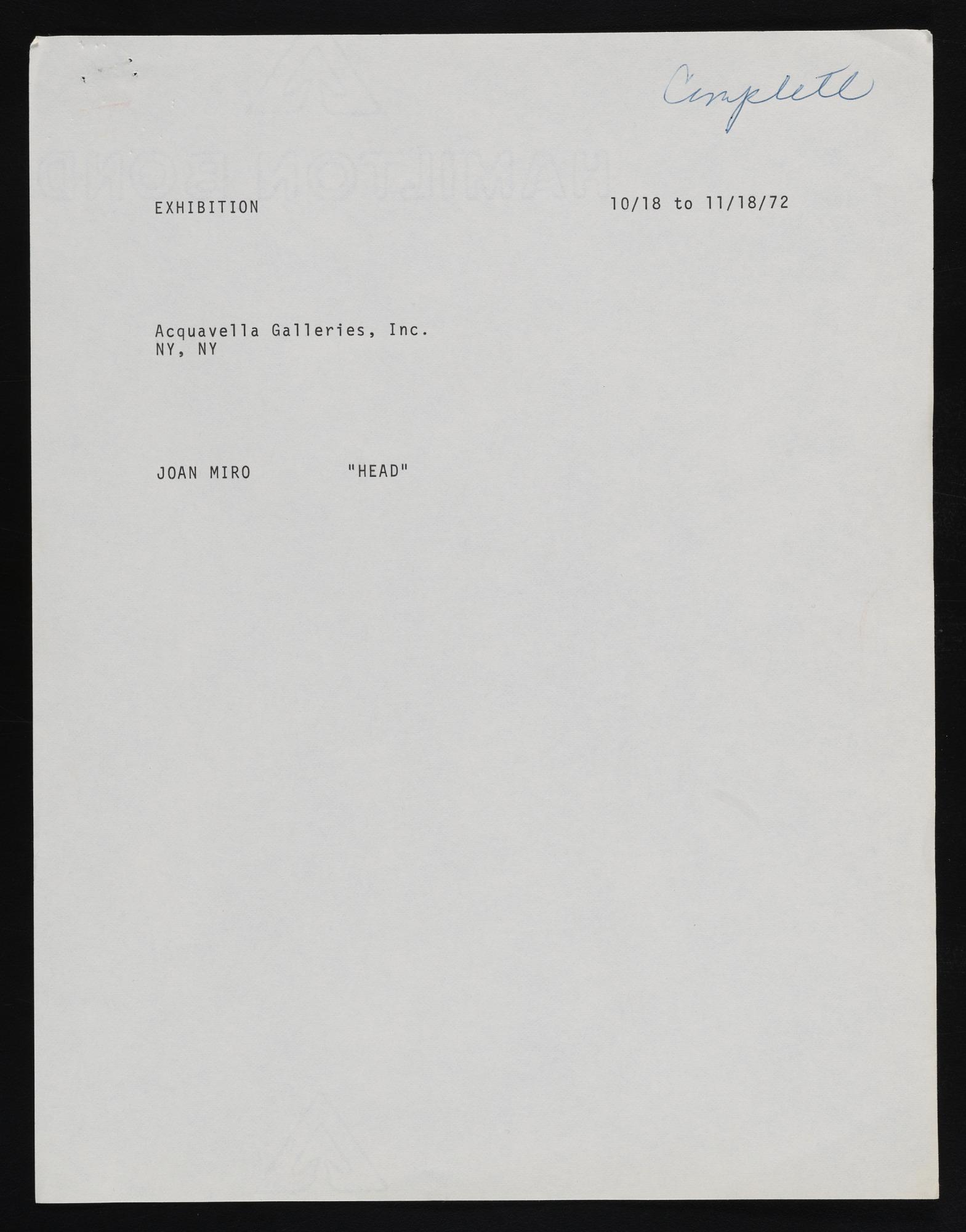 Exhibitions 1972