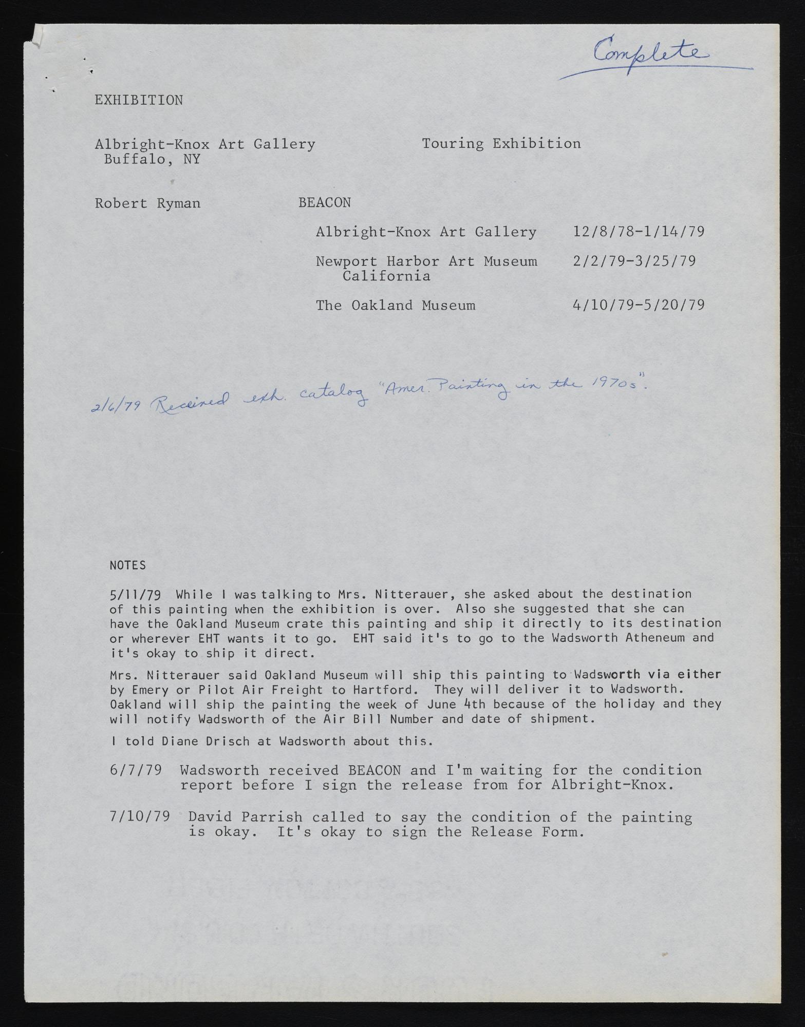 Exhibitions 1979