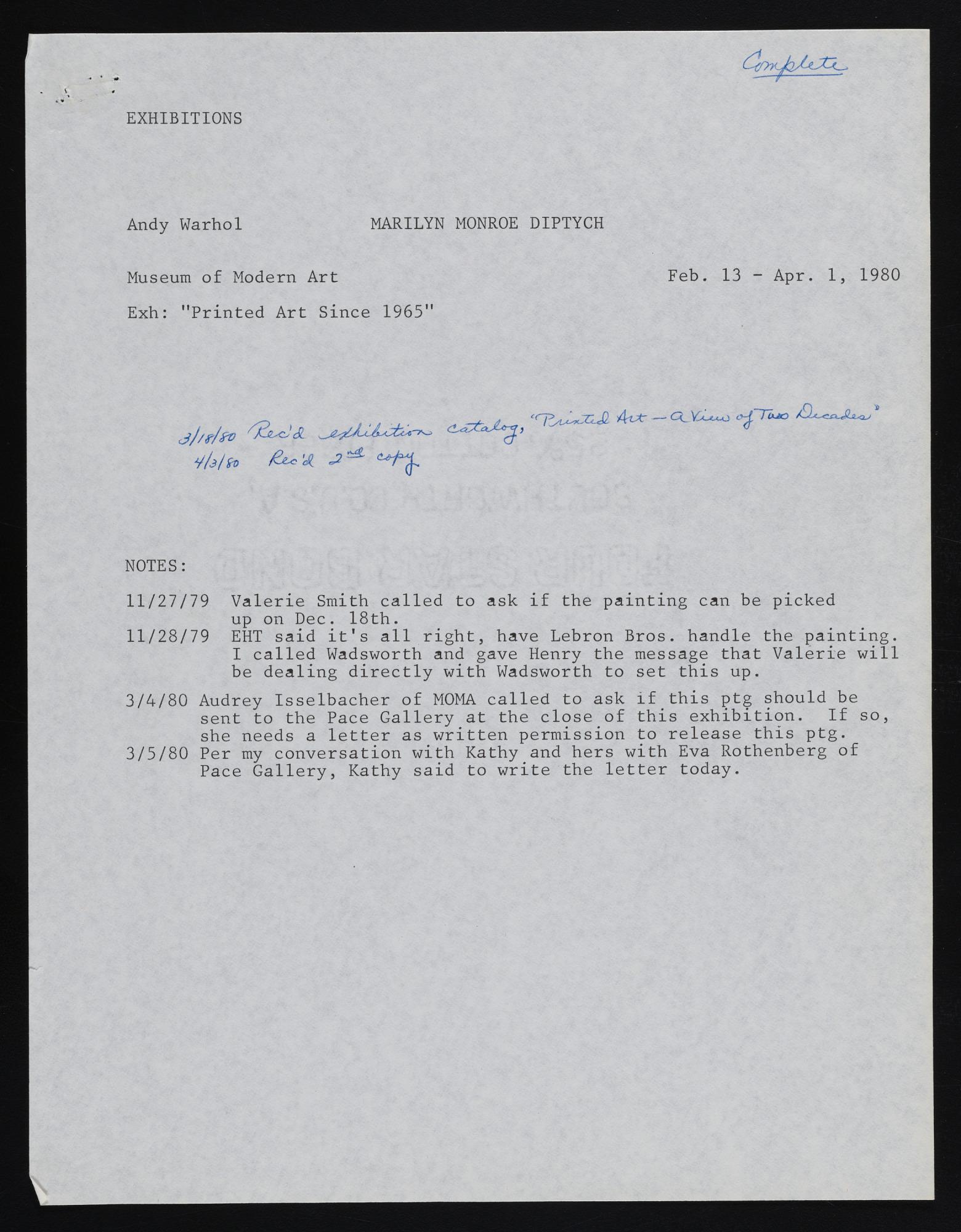 Exhibitions 1980