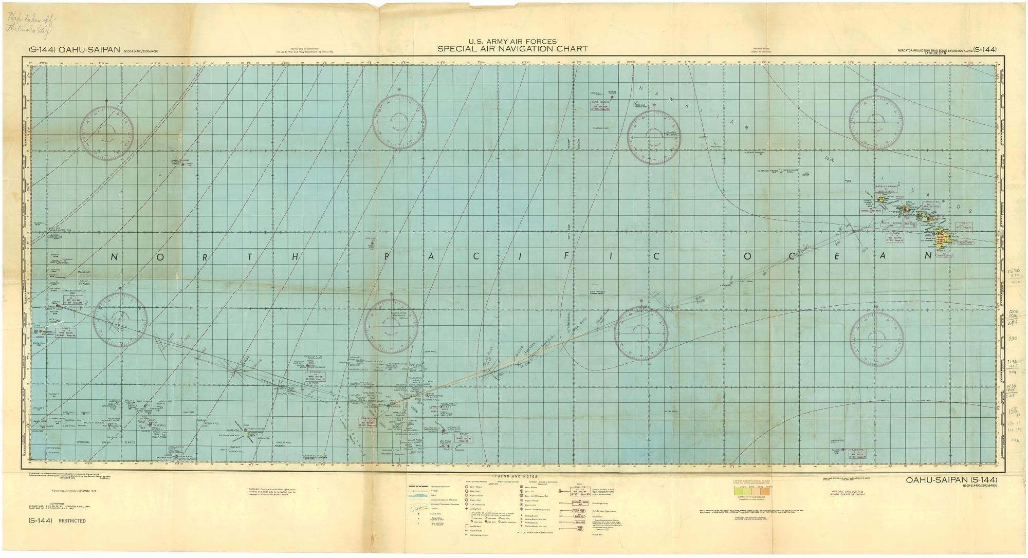 "Captain Theodore J. ""Dutch"" Van Kirk Boeing B-29 Enola Gay Route Map, Tinian to Hawaii via Kwajalein"