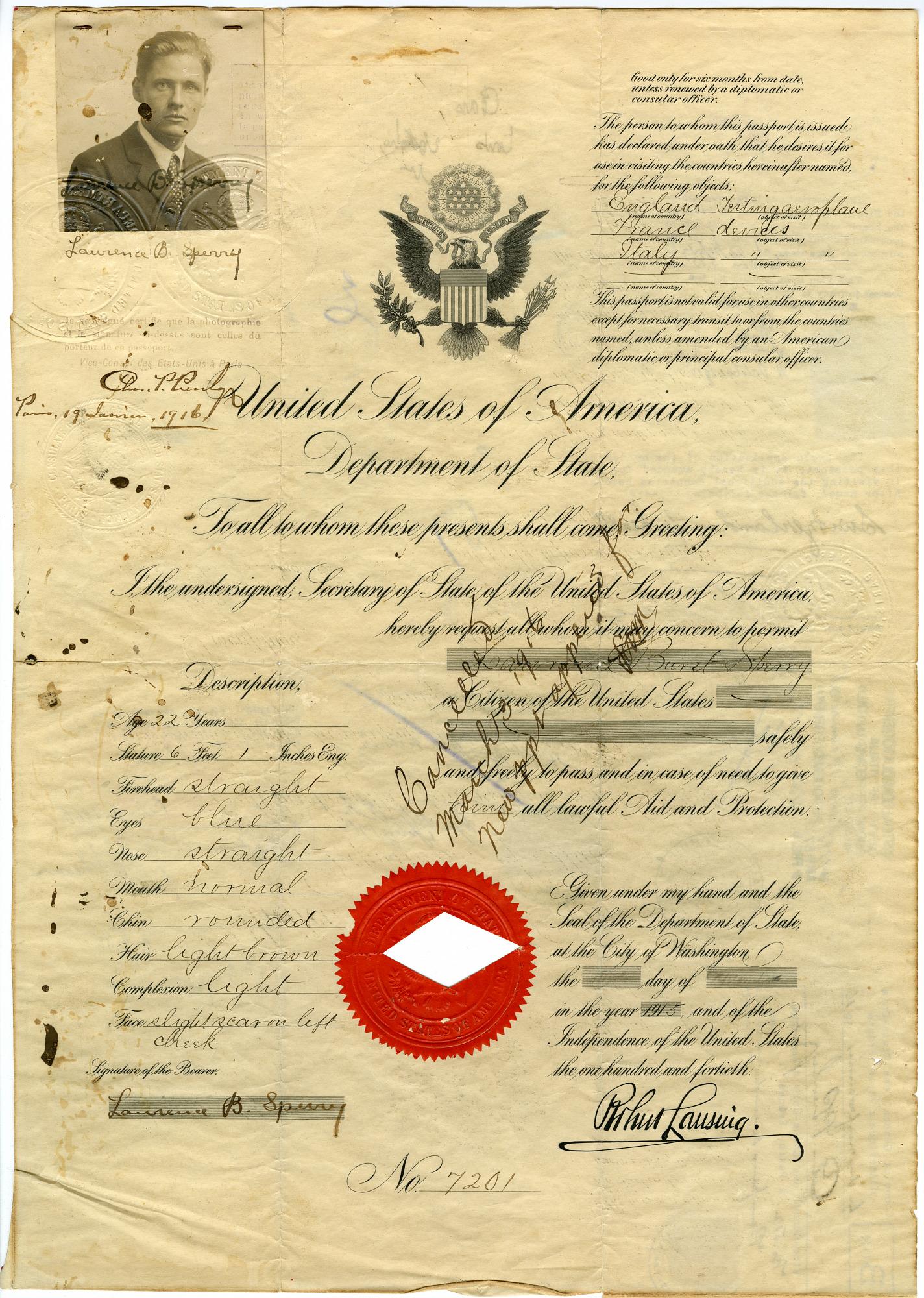 Lawrence Burst Sperry Passport