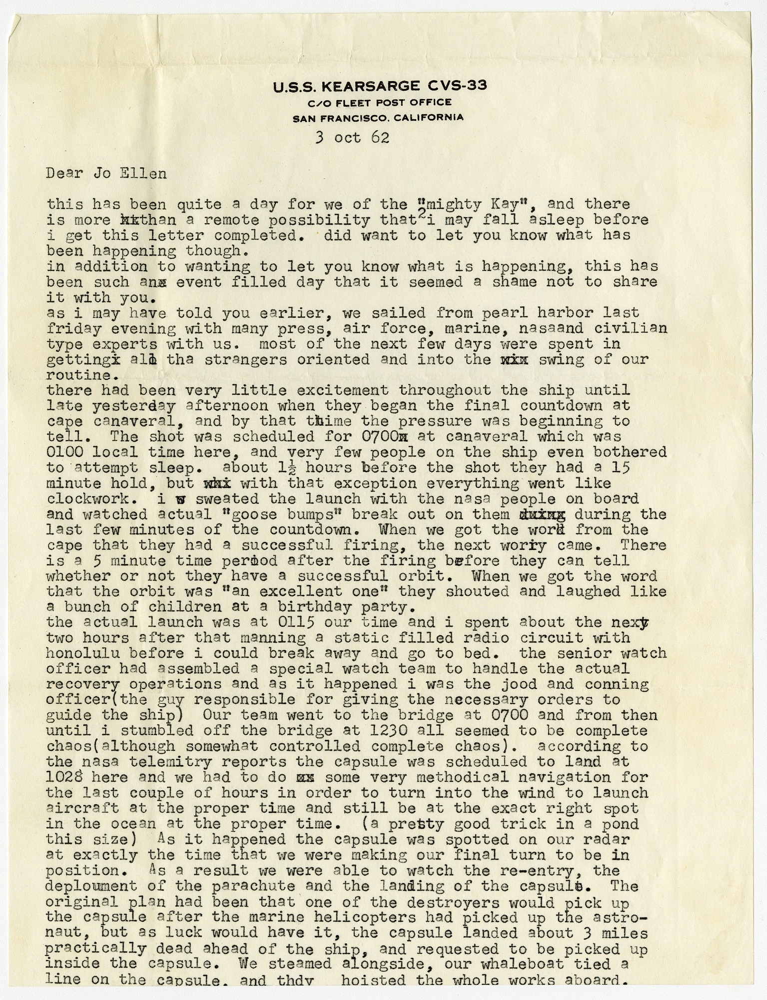 Mercury MA-8 Flight Sigma 7 and Mercury MA-9 Flight Faith 7 Recovery Letters Parker