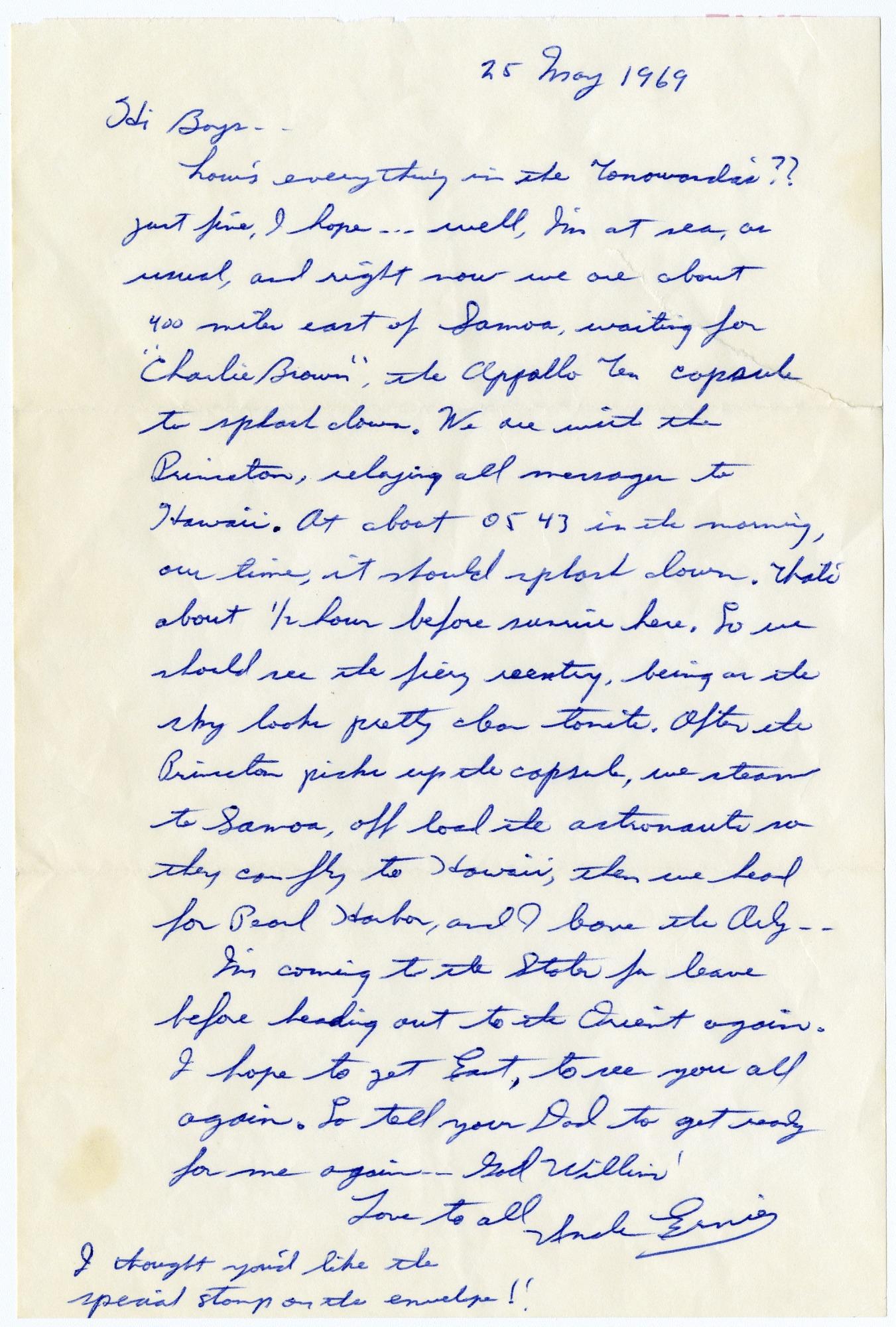 Apollo 10 Flight Recovery Letter Fearn