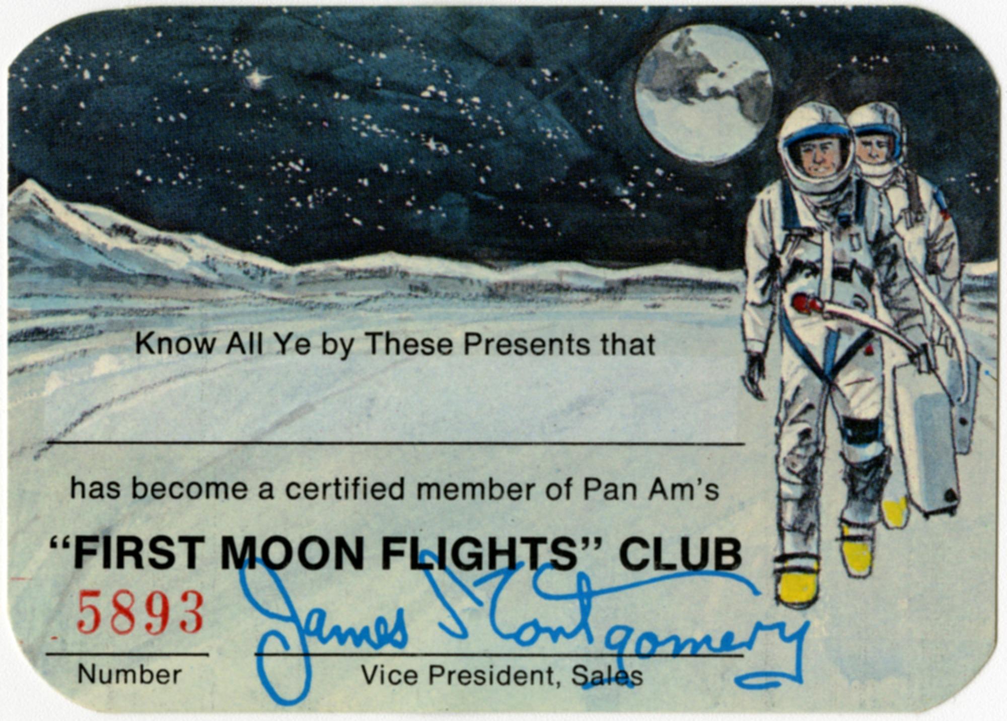 """Pan American Airways (Pan Am) """"First Moon Flights"""" Club Membership Card"""