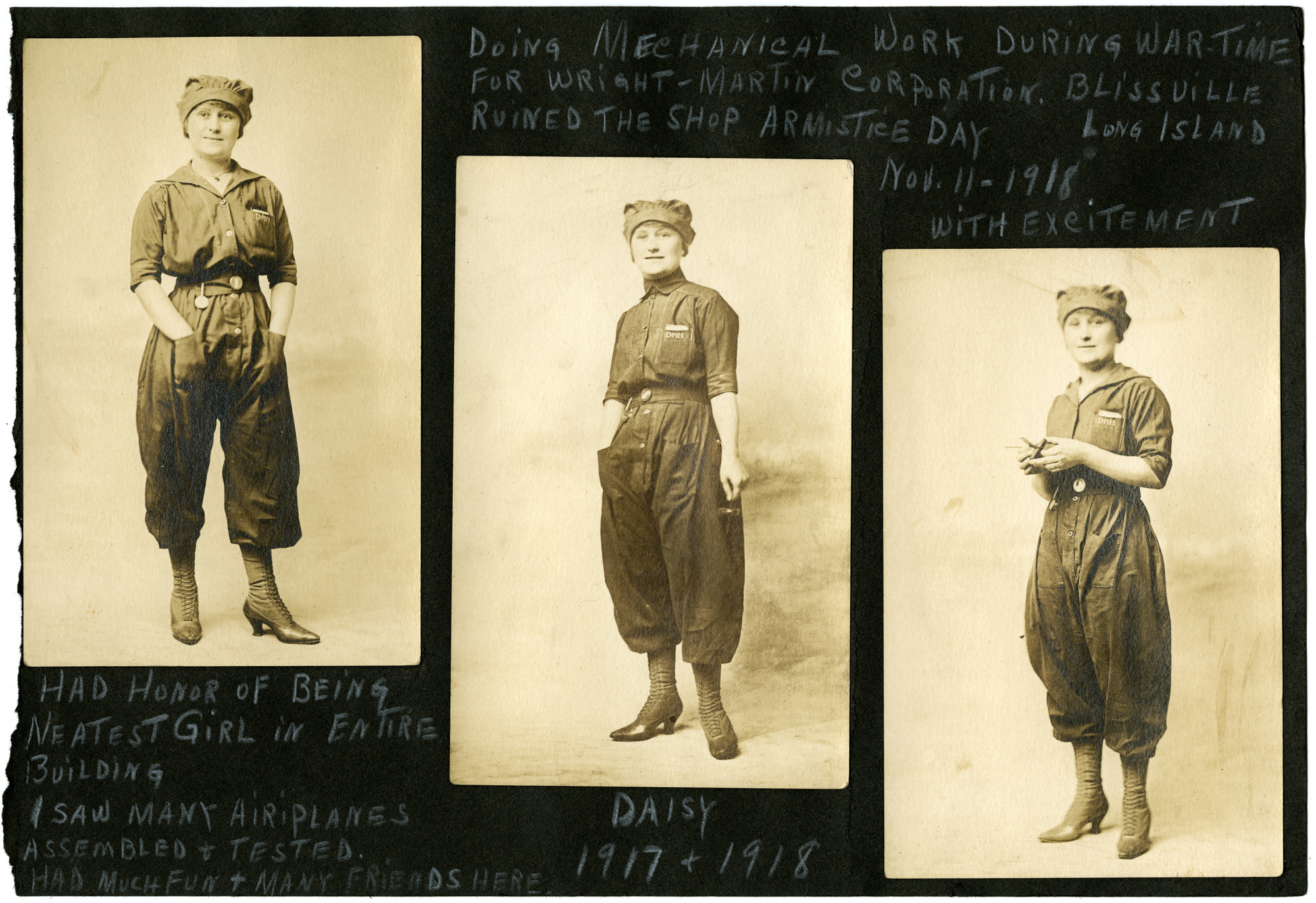 Daisy Mae Miller Wright-Martin Aircraft Corporation Uniform Photographs
