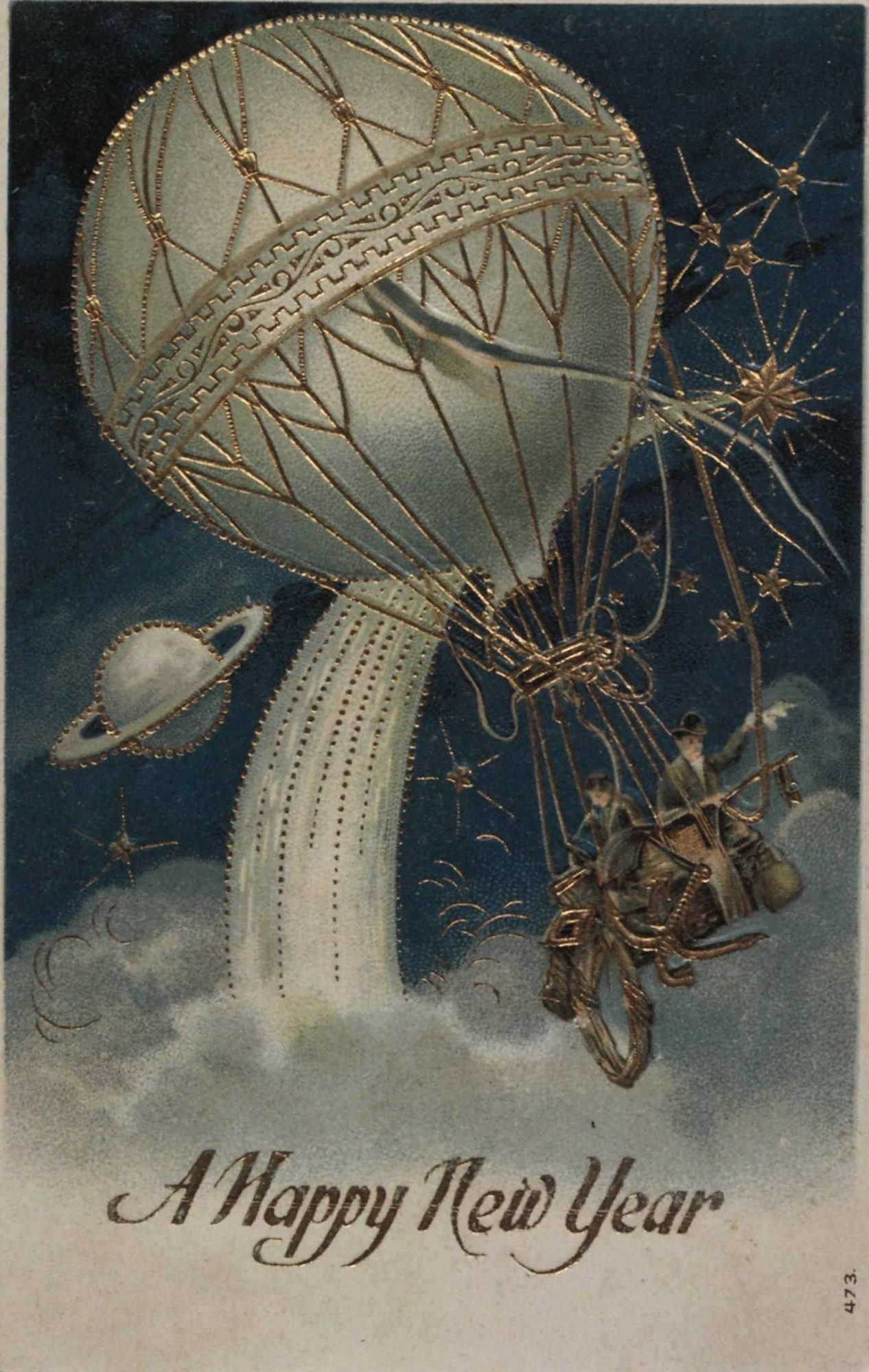 """""""A Happy New Year."""" Two aeronauts up in a beautiful balloon"""