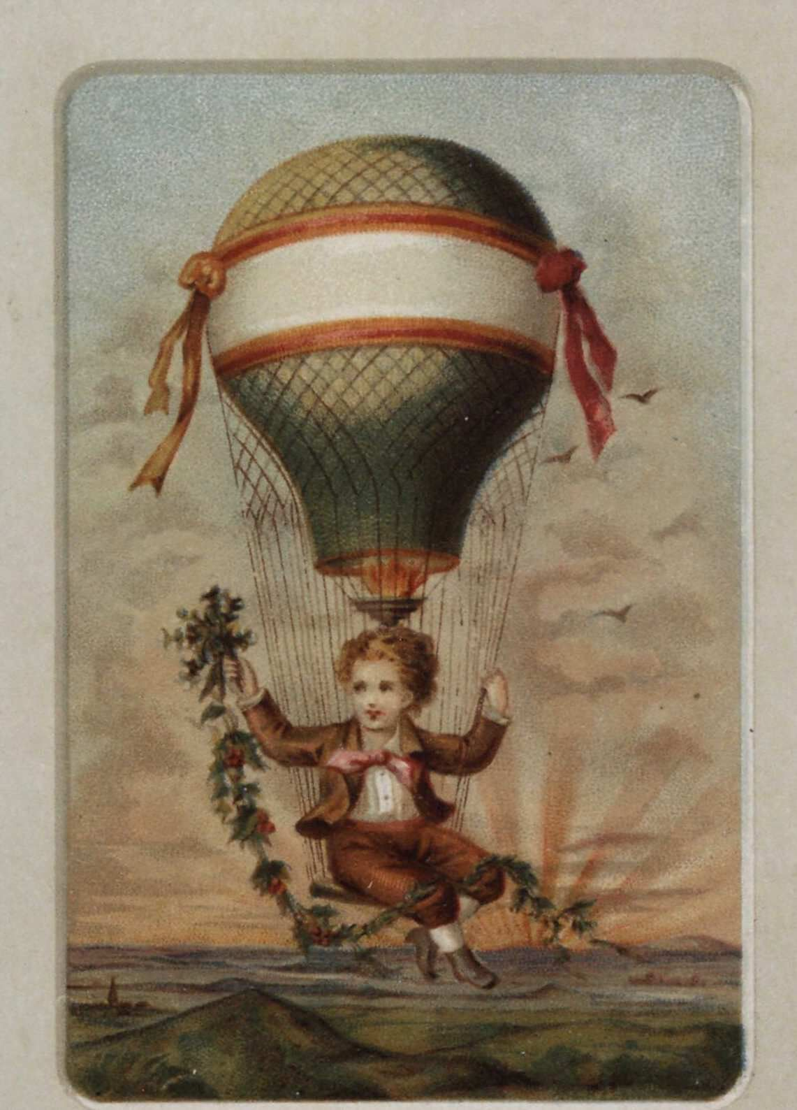 Untitled. Boy up in a gas balloon with garland