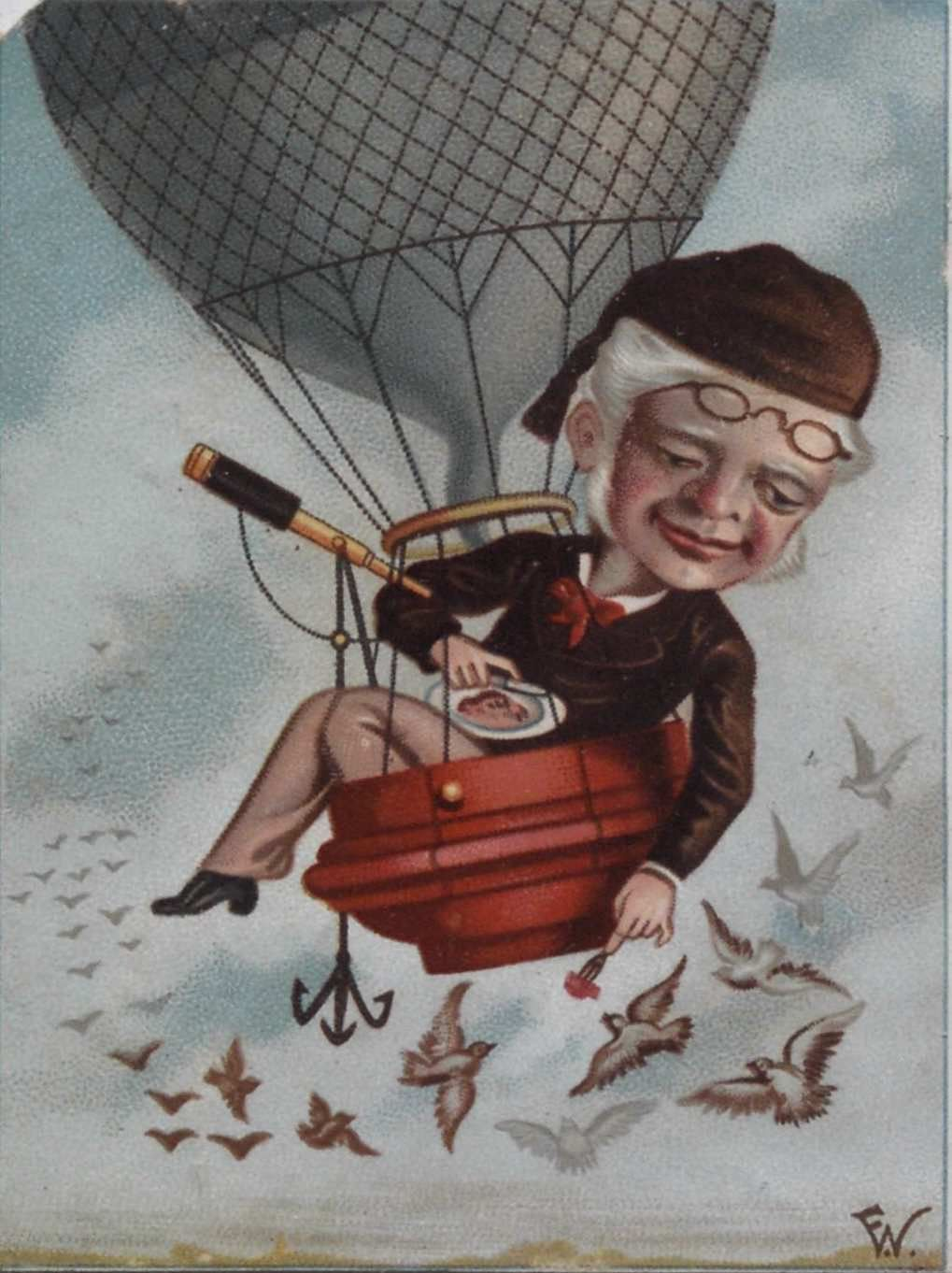 Untitled. Man in small balloon feeding birds