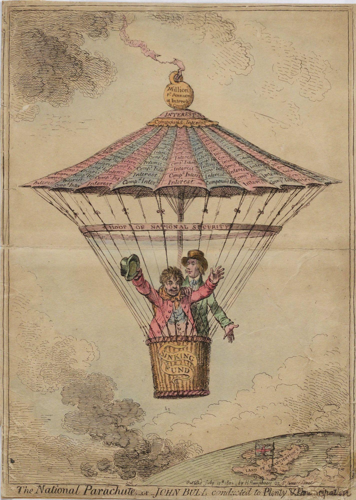 """The National Parachute..."" Political cartoon concerning England's financial problems. Two men in a basket parachute, descending rapidly"