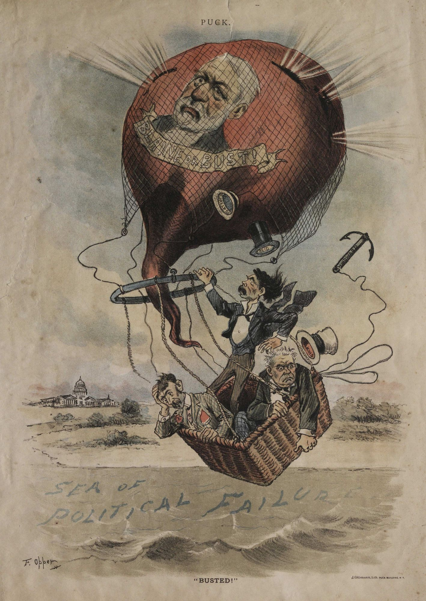 """Busted."" Political cartoon about the doomed balloon James G. Blaine"