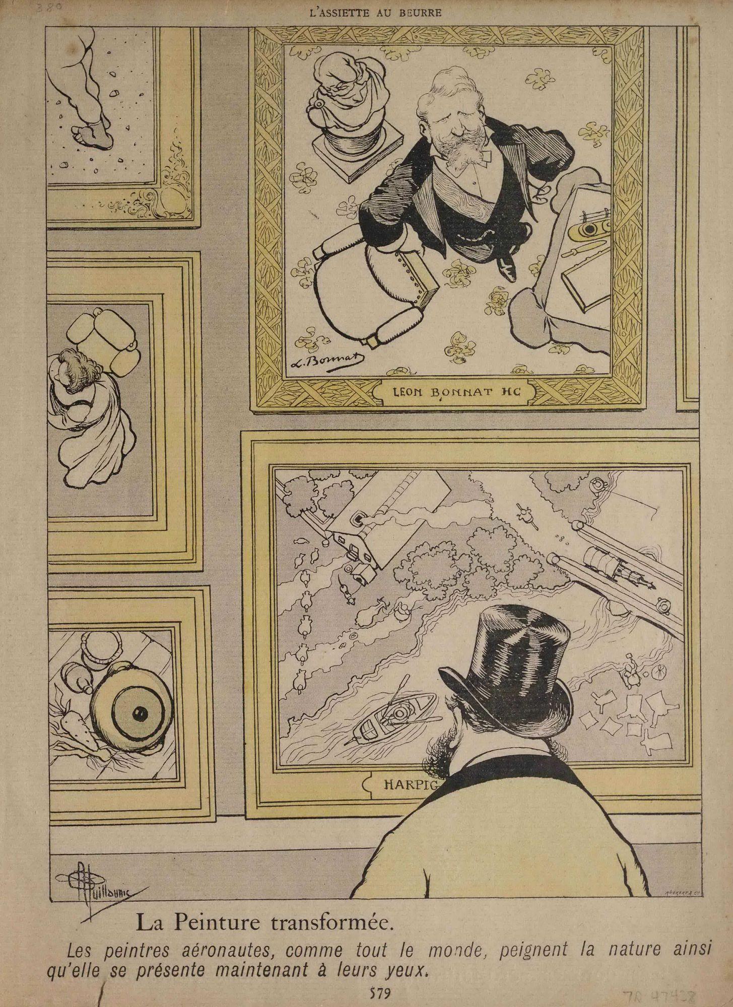"""""""La Peinture transformée. Les peintres aéronautes, comme tout le monde, peignent la nature ainsi qu'elle se présente maintenant à leurs yeux."""" Man in art gallery looking at 'balloon-view' paintings"""
