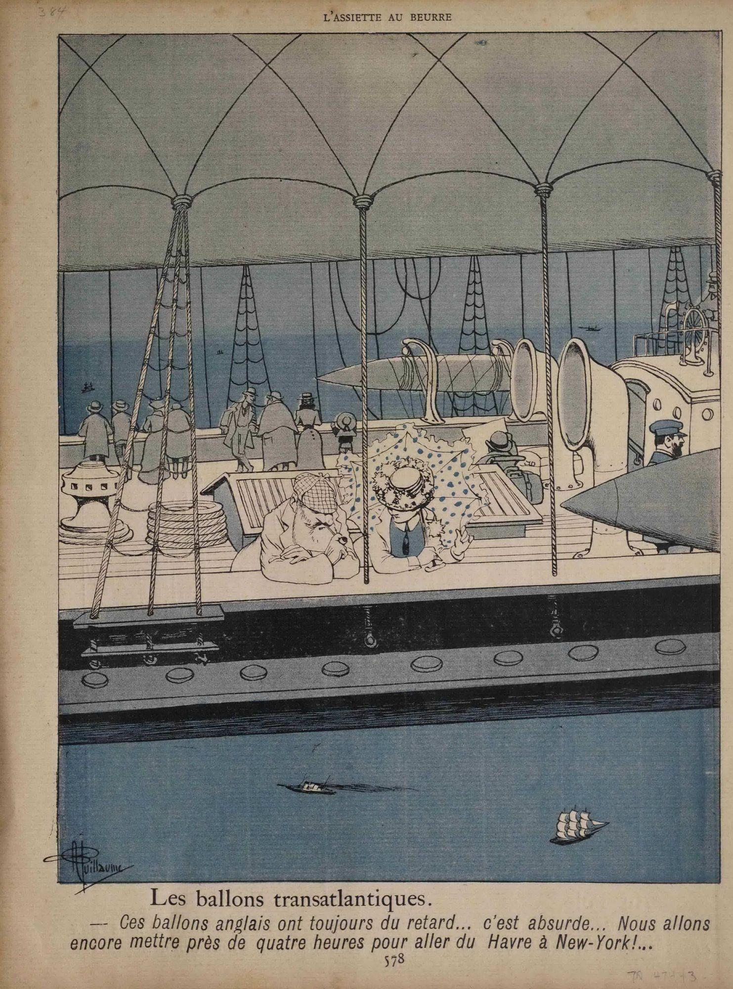 """""""Les ballons transatlantiques. -- Ces ballons anglais ont toujours du retard... c'est absurde... Nous allons encore mettre près de quatre heures pour aller du Havre à New-York!"""" People watching ocean from open-air dirigible"""