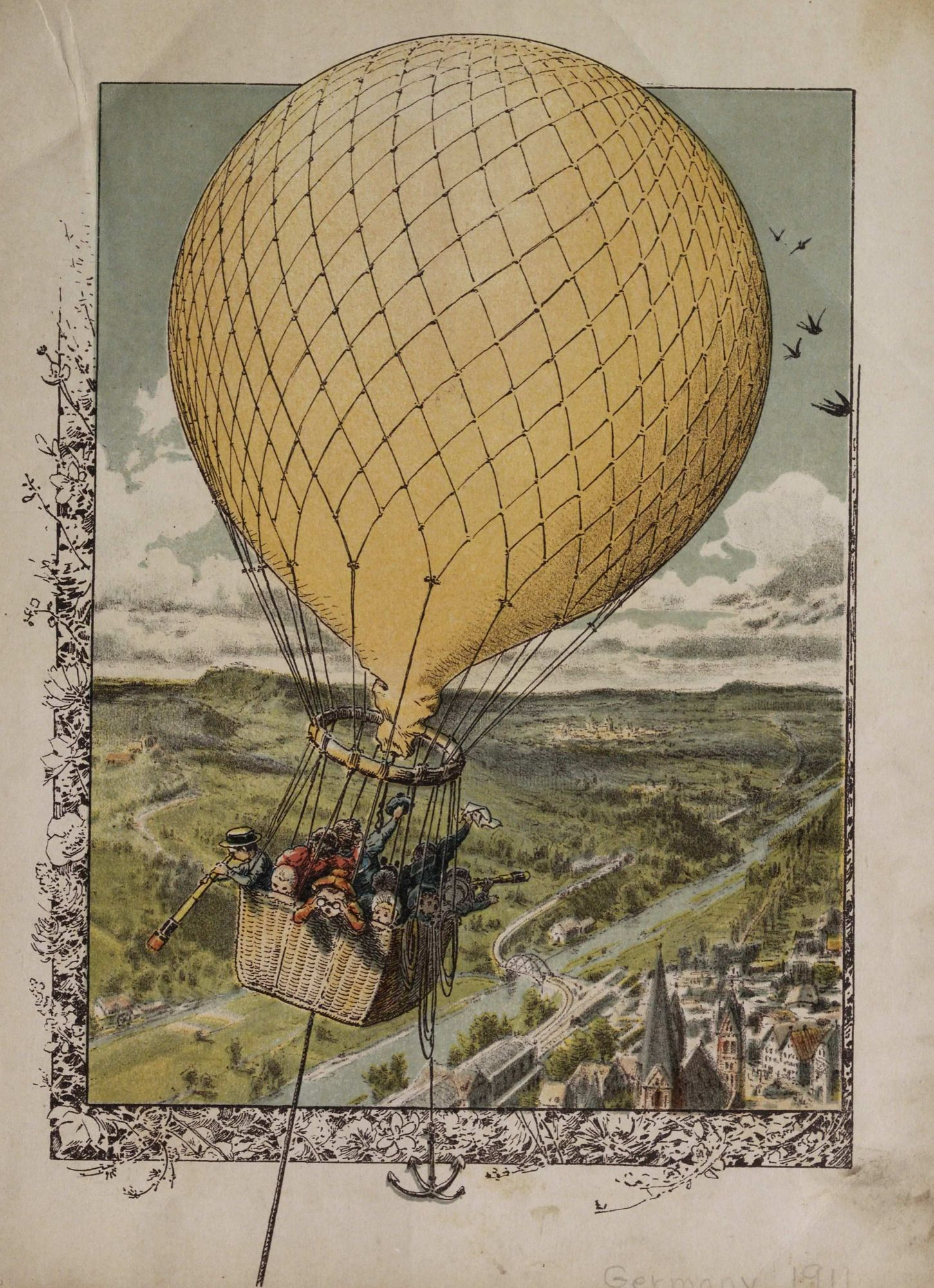 Untitled. Small crowd of children up in a gas balloon