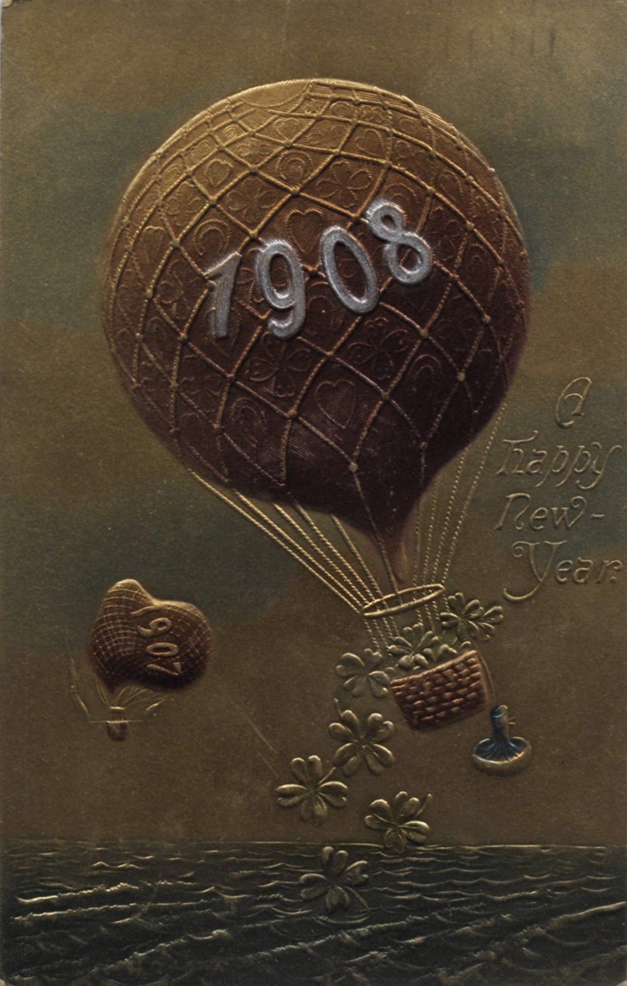"""""""A Happy New Year."""" Two balloons: """"1907 descending; """"1908"""" ascending"""