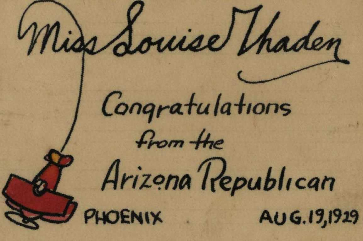 August 1929, National Women's Derby—The Race: Banquets, Courtesy Cards