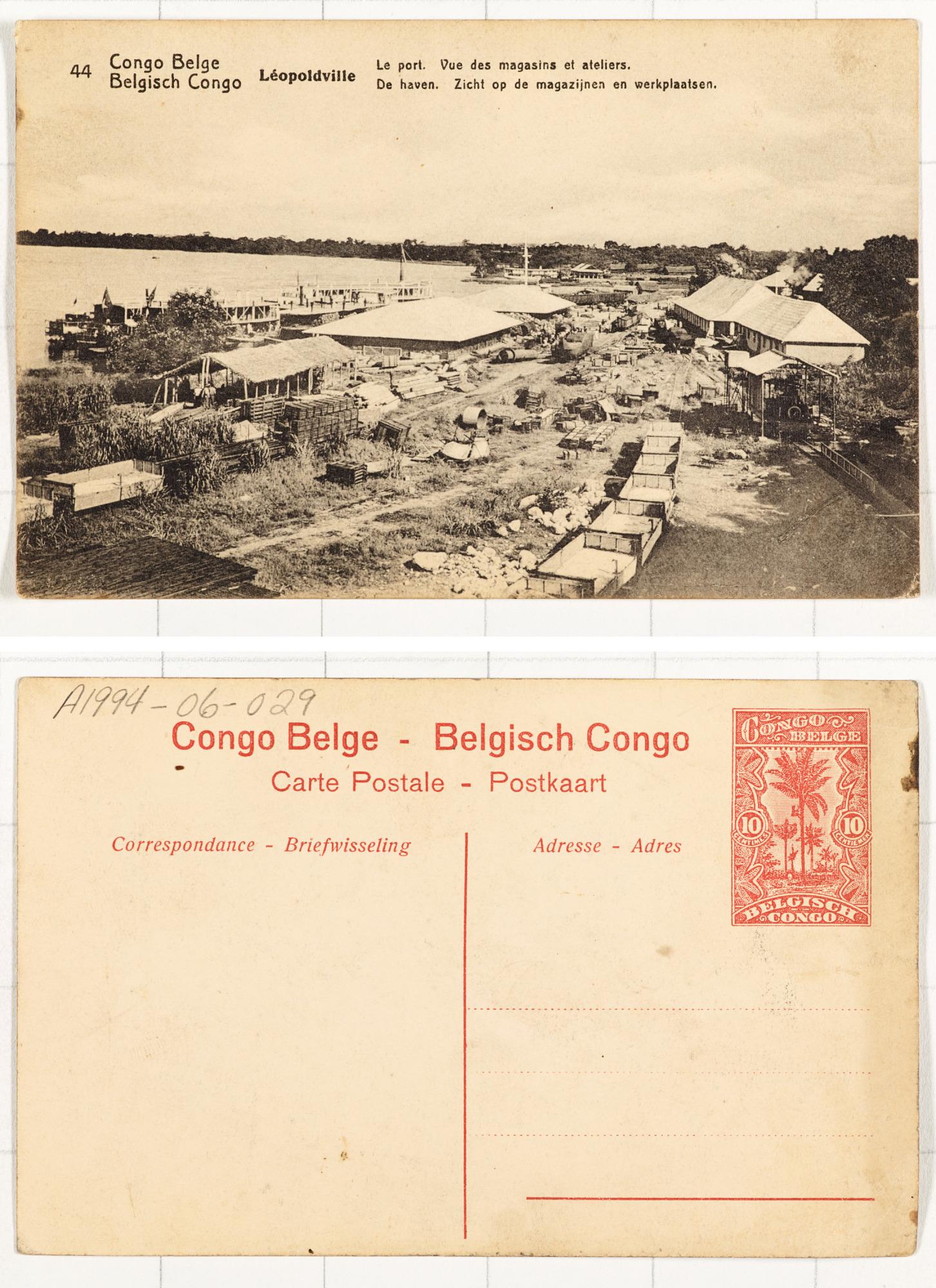 44. Congo Belge Léopoldville: Le port. Vue des magasins et ateliers