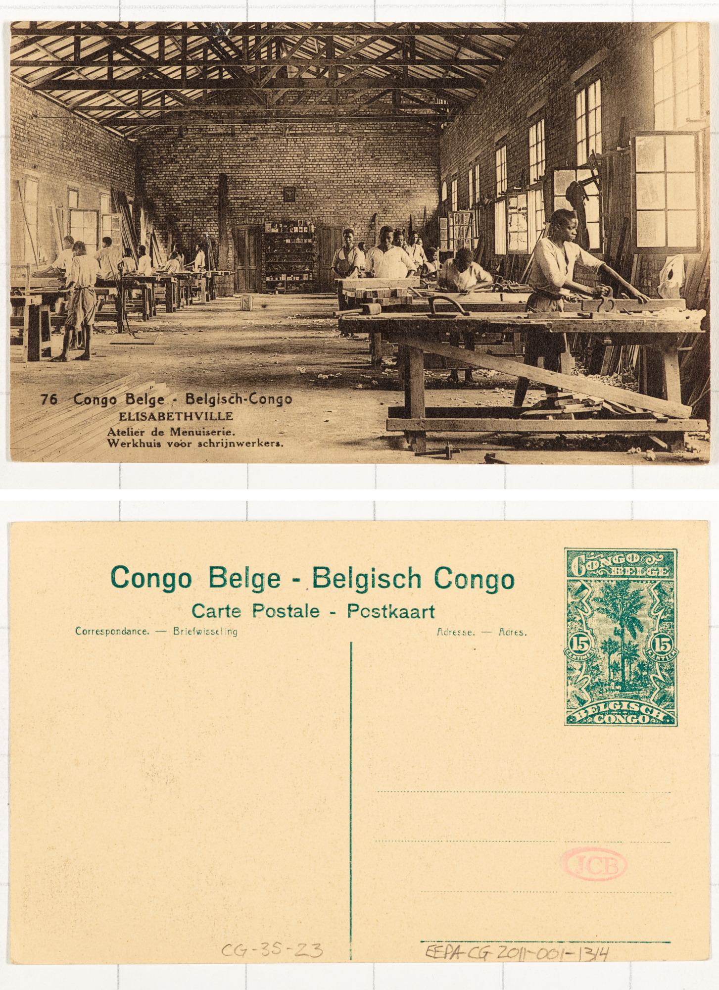 76. Congo Belge Elisabethville: Ateliers de menuiserie