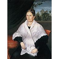 Retrato de dama con mantilla, ventana y palmeras